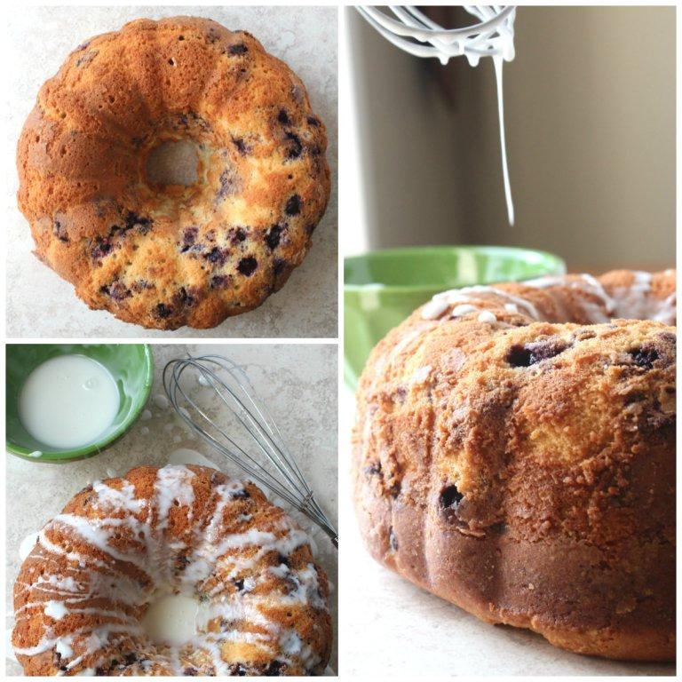 collage blueberry bundt cake